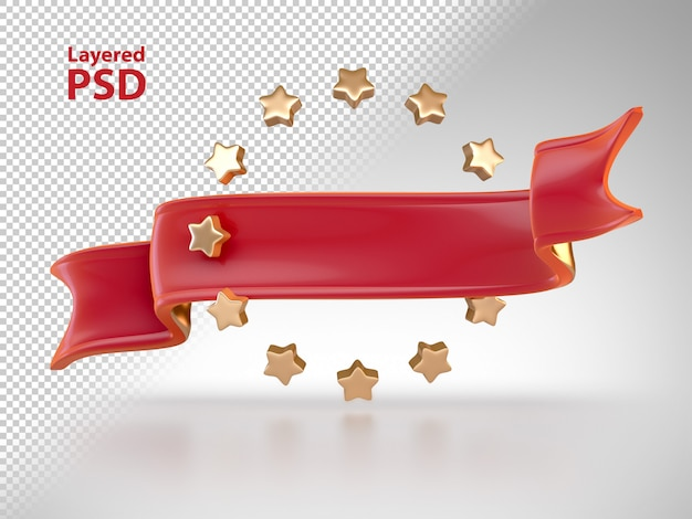 3d red ribbon with golden stars