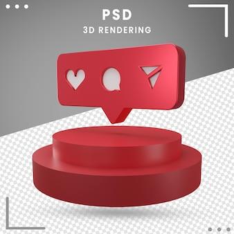 3d красный повернутый значок логотипа instagram, изолированные в 3d-рендеринге