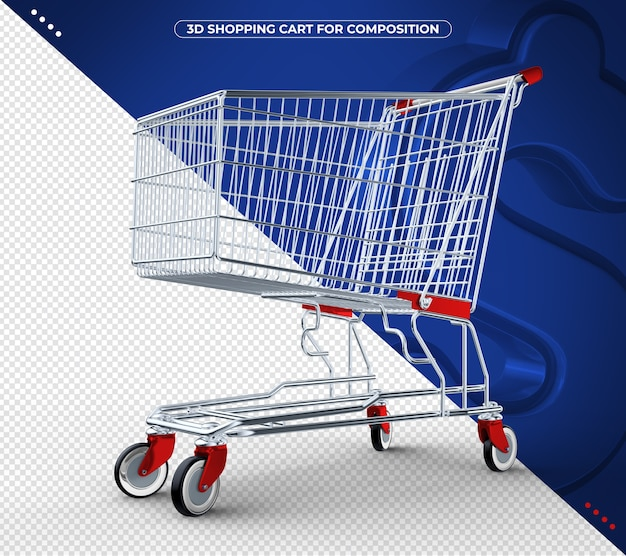 3d red shopping cart isolated on blue background