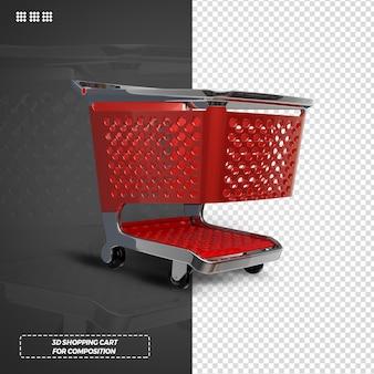 3d赤いショッピングカート分離レンダリング