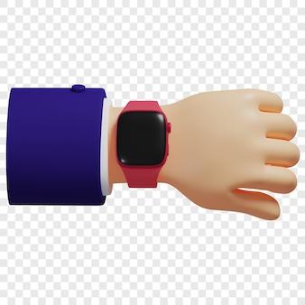 손목 고립 된 그림 3d 렌더링에 3d 빨간색 스마트 시계