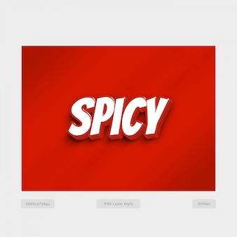 3d red spicy text style