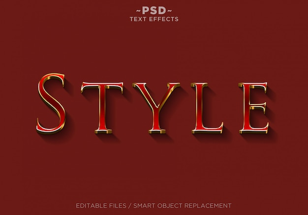 3d red style effects editable text