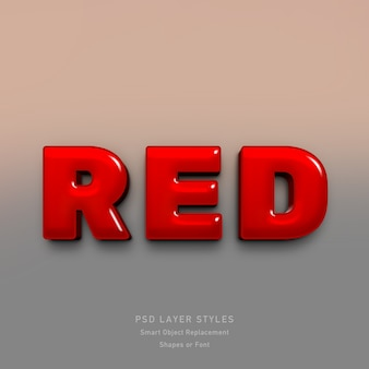 3d red text style effect for font