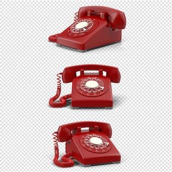 分離された3d赤ヴィンテージ電話