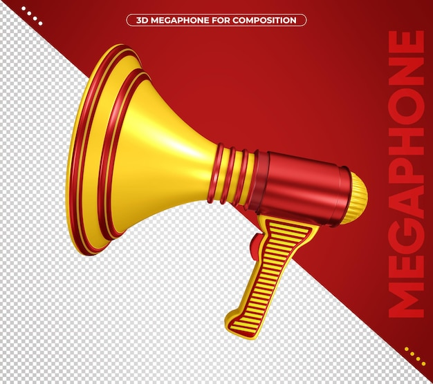 3d red and yellow megaphone for composition isolated