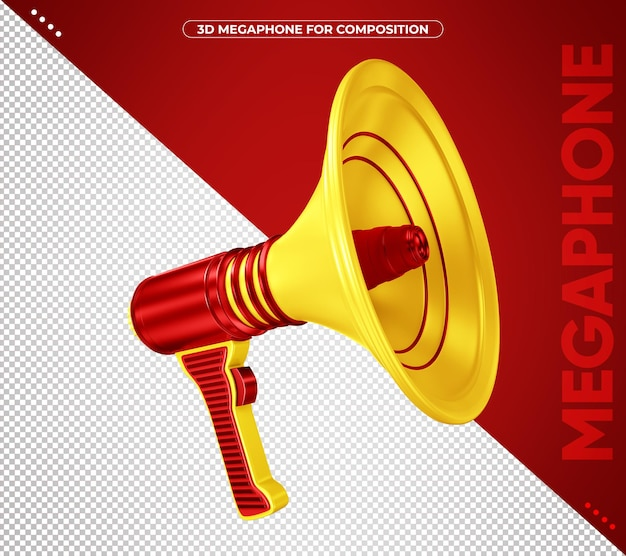 3d red and yellow megaphone isolated