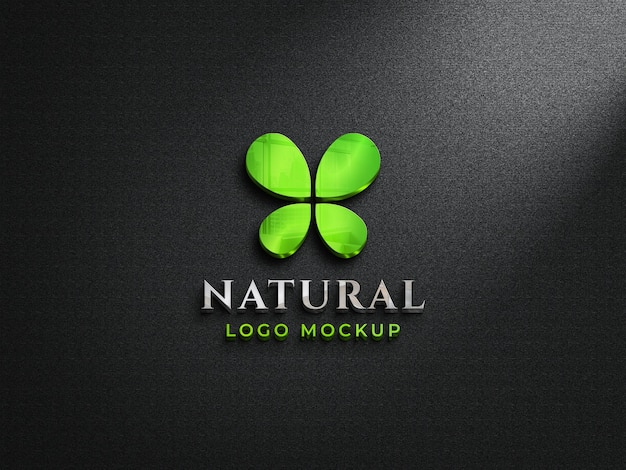 3d-макет логотипа с отражающим стеклом на темной стене 3d-макет с красочным логотипом Premium Psd