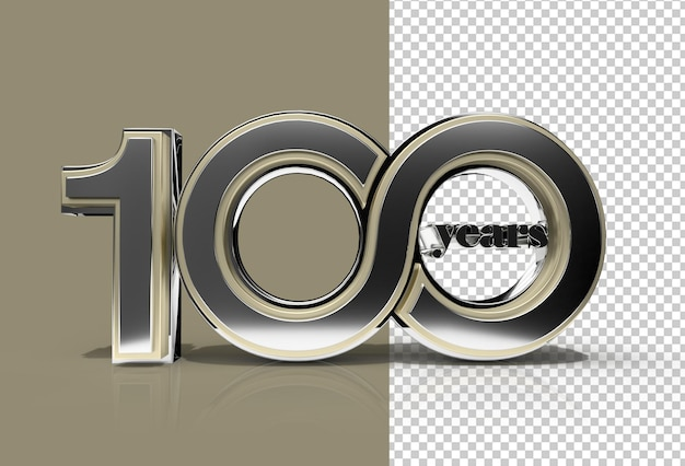 3d render 100 years celebration transparent psd file.