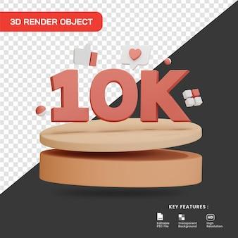 3d визуализация празднование 10k последователей с изолированным подиумом