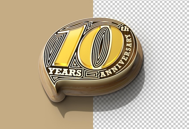 3d render 10th years anniversary celebration transparent psd file.