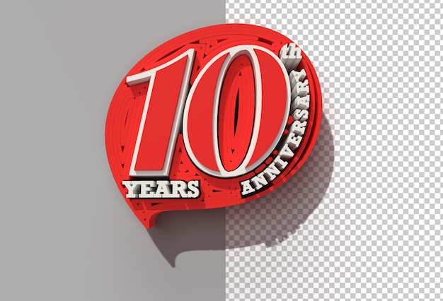 3d render 10th years anniversary celebration transparent psd file