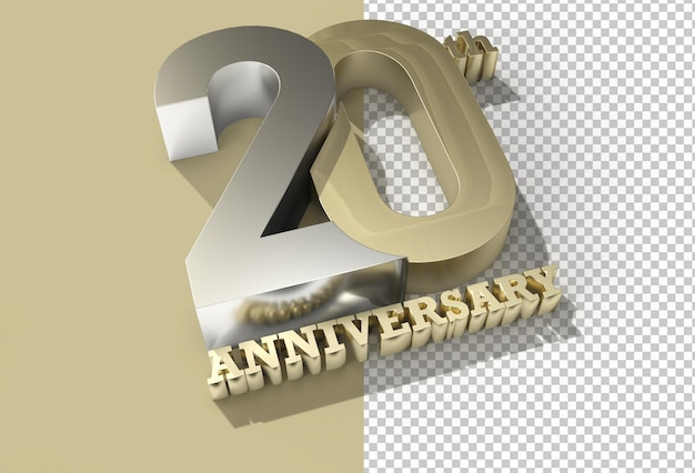 3d render 20th years anniversary celebration transparent psd file.