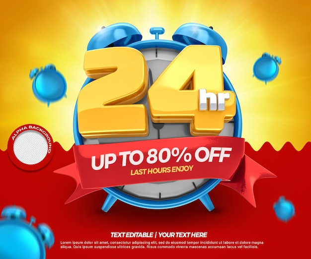 3d render 24 hours sale up to 80 discount with clock