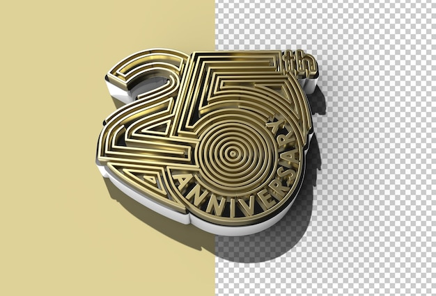 3d render 25th years anniversary celebration transparent psd file.
