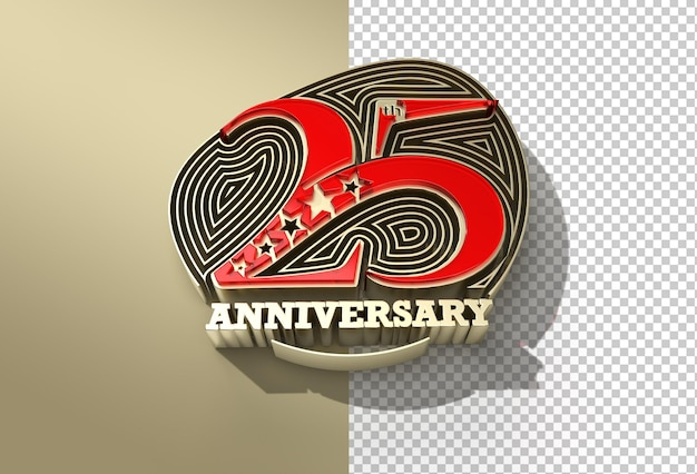 3d render 25th years anniversary celebration transparent psd file
