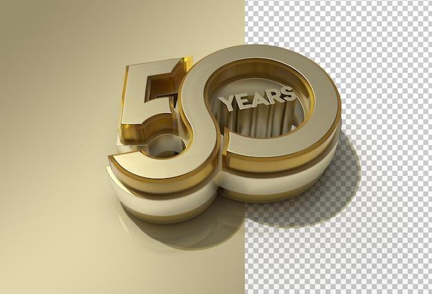 3d render 50 years celebration transparent psd file.