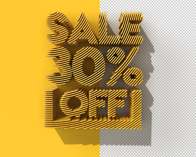 3d render abstract 30-процентная распродажа со скидкой на баннер прозрачный psd файл