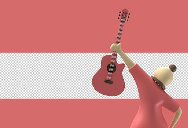 女性の漫画のキャラクターと透明なpsdファイルを使用した3dレンダリングアコースティックギター。