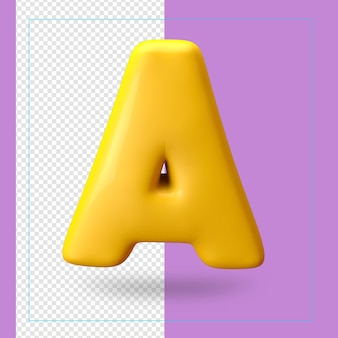 3d render of alphabet letter a