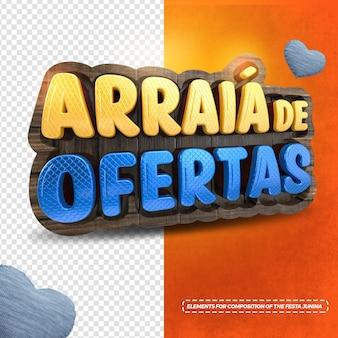 3d render arraia junina party offers in brazilian