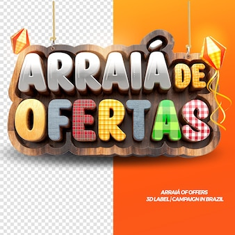 3d render arraia of offers for festa junina in brazilian