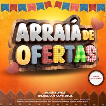 ブラジルのフェスタジュニーナのためのフェンスとフラグを備えた3dレンダリングarraiaオファー