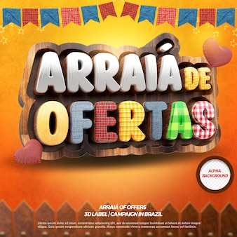 3d render arraia offers with fence and flags for festa junina in brazilian
