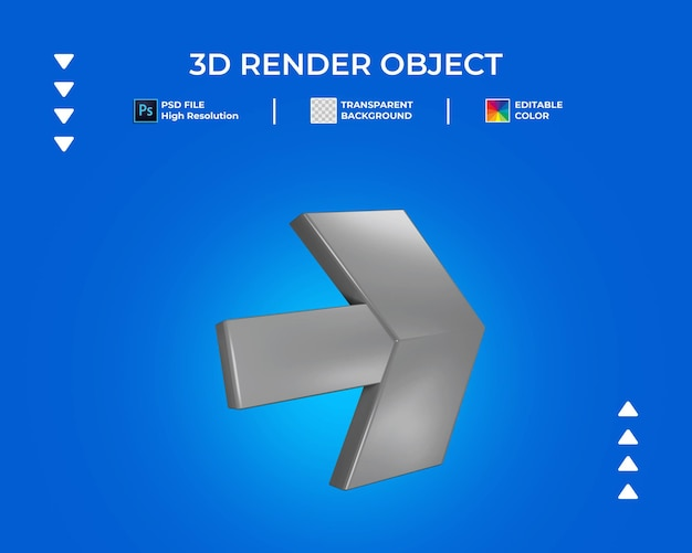 3d render of arrow icon isolated