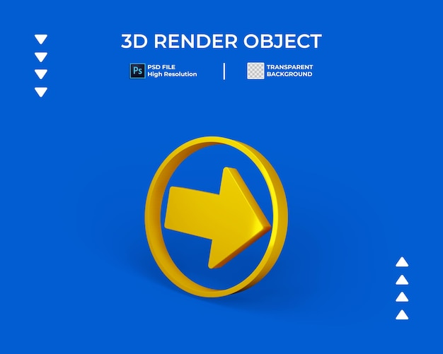 3d render of arrow icon with round border isolated