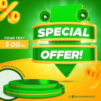 3d render arrow special offer label with podium isolated