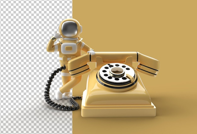 3d render astronaut calling gesture with old telephone