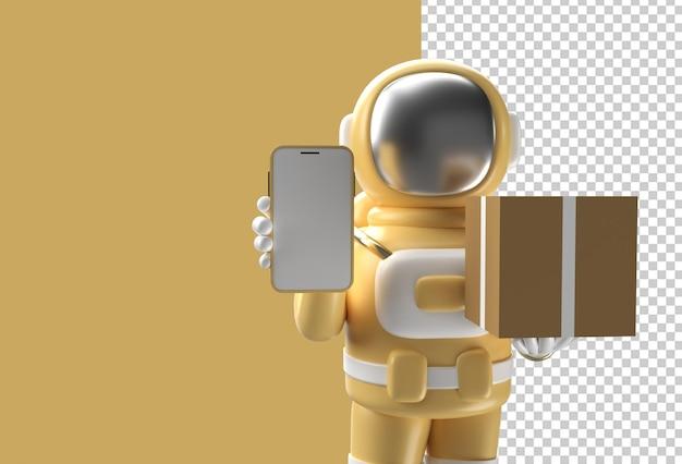 3d визуализация астронавт доставляет пакет с мобильным макетом