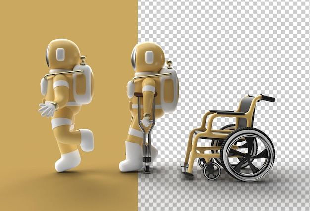 3d render astronaut disabled using crutches to walk with weelchair
