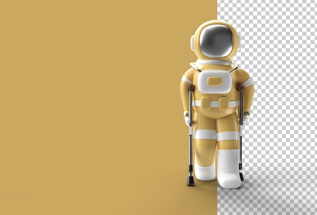 3d render astronaut disabled using crutches to walk