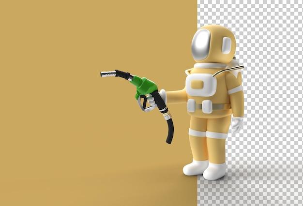 Космонавт заправляет форсунку топливного насоса 3d render