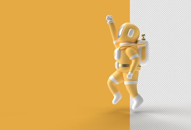3d render astronaut fly transparent psd file.