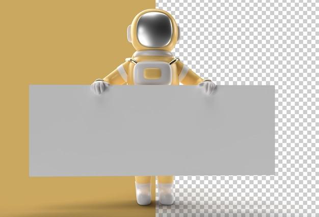 3d визуализация руки космонавта, указывающей с держащим знамя