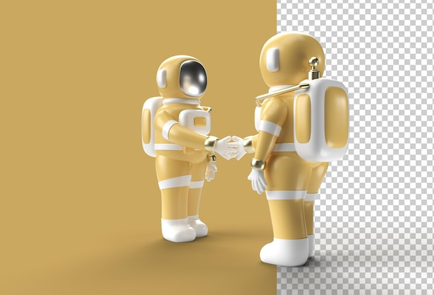 3d render astronaut hand shake gesture