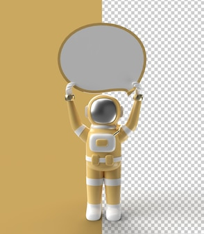 白いバナーを保持している3dレンダリング宇宙飛行士