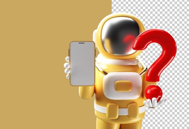 3d визуализация астронавт держит вопросительный знак с пустым мобильным макетом