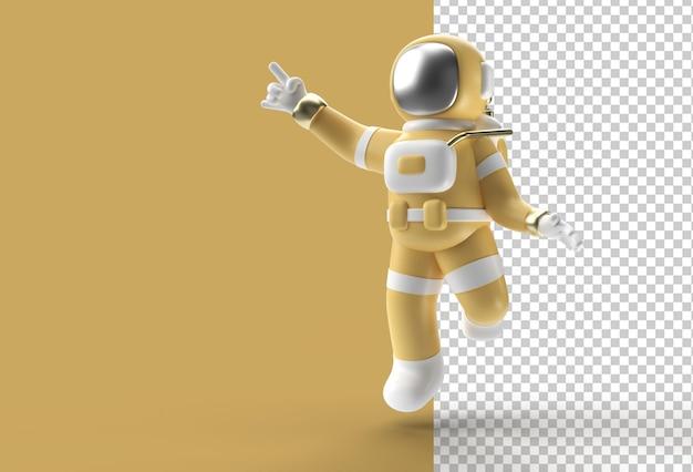 3d визуализация астронавт прыгает в действии
