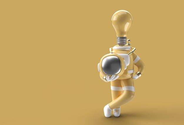 頭の代わりに3dレンダリング宇宙飛行士の電球