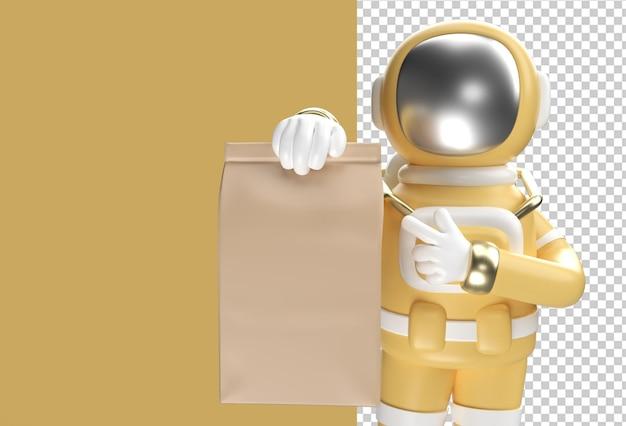 패키지를 제공하는 3d 렌더링 우주 비행사 남자