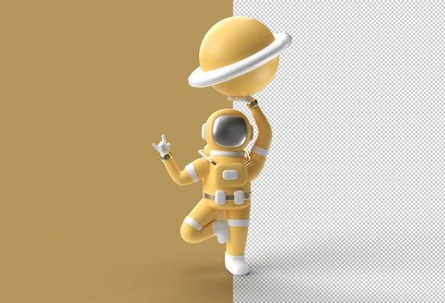 惑星木星の透明なpsdファイルを保持する3dレンダリング宇宙飛行士ロックジェスチャ。