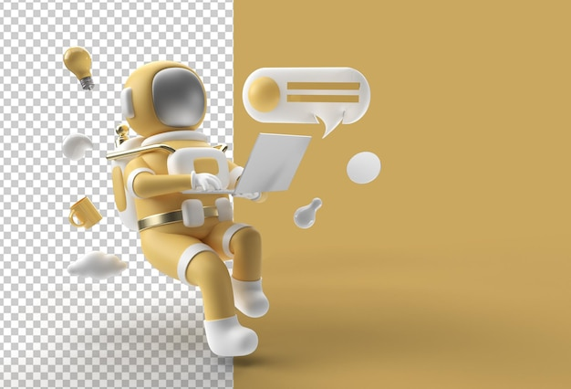 3d render astronaut in spacesuit working on laptop transparent psd file