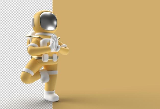 3d render astronaut standing a grateful namaste yoga pose transparent psd file.