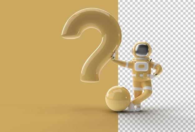 3d визуализация астронавт, стоящий с вопросительным знаком