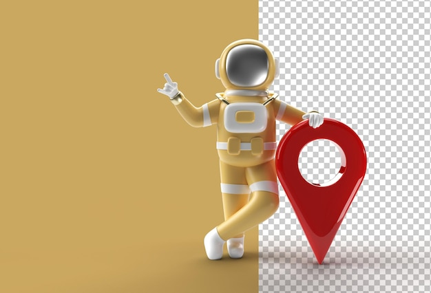 3d render astronaut with map pointer