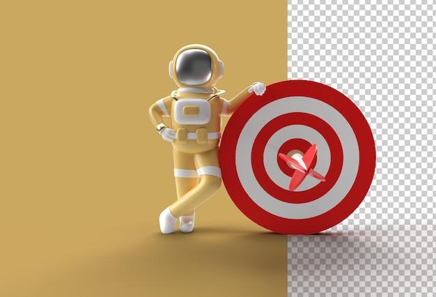 3d render astronaut with target